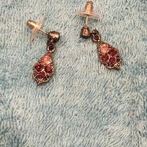 Vintage purple and pink rhinestone earrings